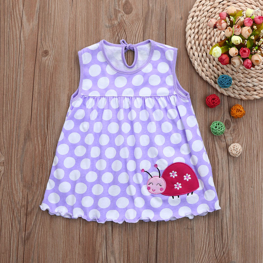 New Toddler Cute Baby Cotton Flower Children Dot Striped Tees Dress T-Shirt Vest Kids Dresses For Girls Roupas Infantis Menina