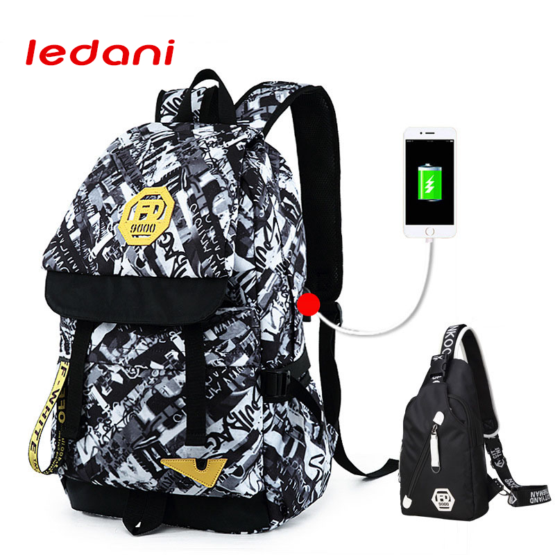 LEDANI  Men USB Charge Backpack Women Canvas Bag School Backpacks Men Travel Large Capacity Male Backpack For School Girls Boys men backpack student school bag for teenager boys large capacity trip backpacks laptop backpack for 15 inches mochila masculina