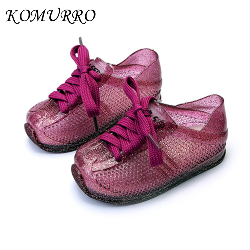 Toddler Girl Jelly Shoes Children Tennis Sports Lace-Up Shoes Kids Sneakers Breathable Shoes Sequins Girls Jelly Gold Sneakers