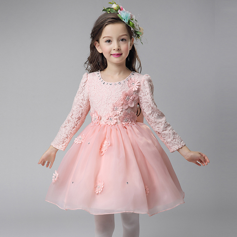 Autumn Winter Girls Wedding Party Dress Children Lace Bow Flower Princess Tulle Dress Elegant Kids Girl Birthday Prom Clothes 2018 new flower girl dress wedding lace big bow kids girls princess dress for evening party wear cute children birthday clothes