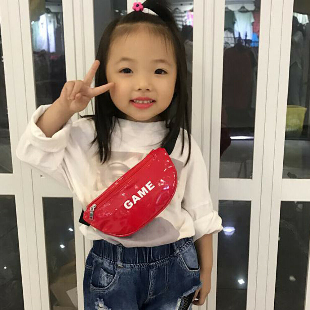 Bright Leather Waist Bag New Fashion Children Chest Handbag Unisex Letter Fanny Pack Kids Waist Pack Belly Bags Toy Pouch