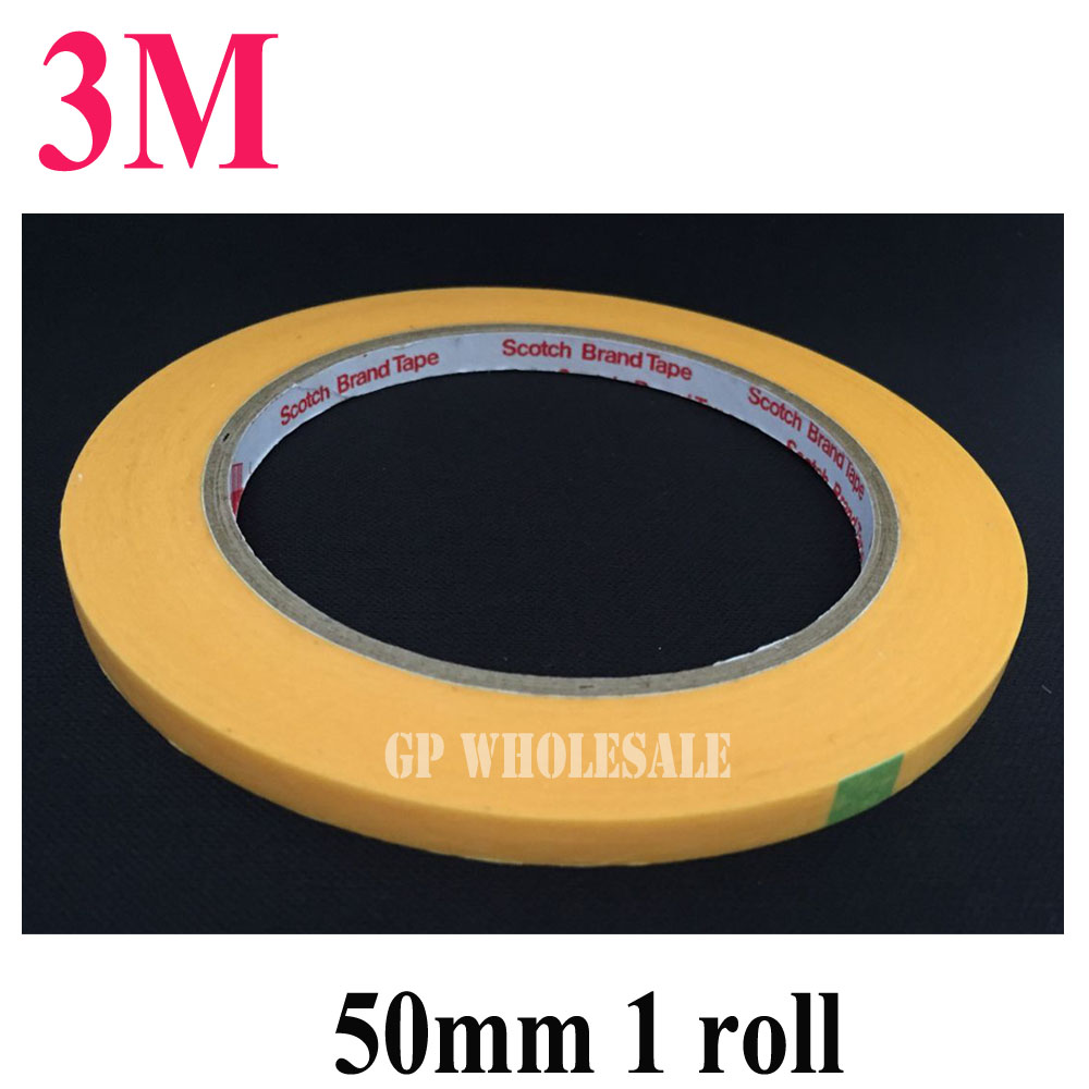 50mm*50M 3M244 Yellow Masking Tape for PCB SMD Automobile Soldering Coating Shielding цена и фото