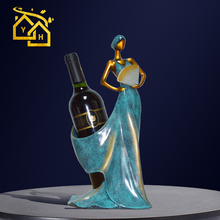 African Lady with Fan Miniatures Elegant Wine Rack Figurine Statue for Vintage Home Decor Creative Crafts and Gifts