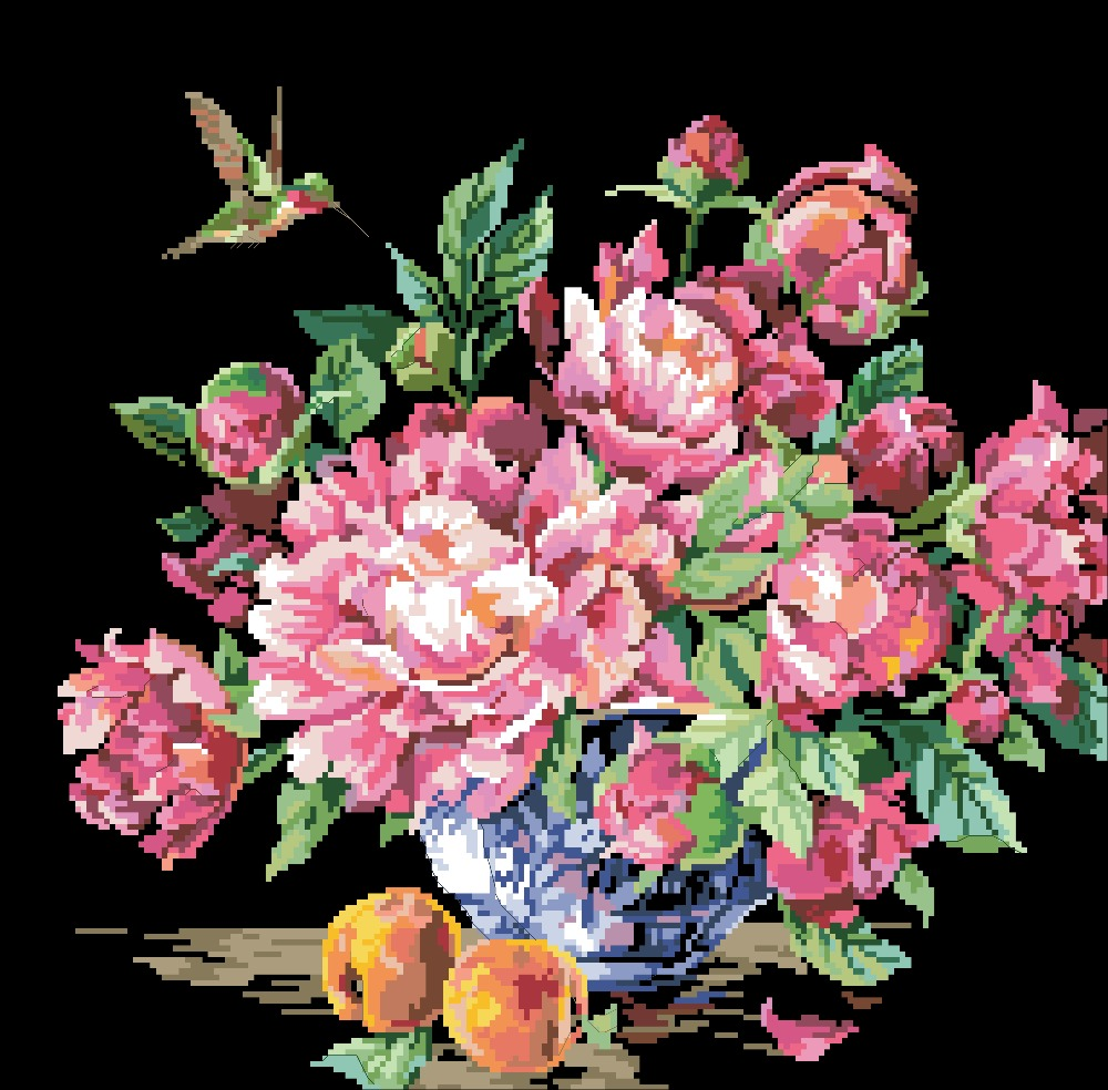 Peonies And Fruit Cross Stitch Package Flower Aida 18ct 14ct 11ct Black Cloth People Kit Embroidery DIY Handmade Needlework