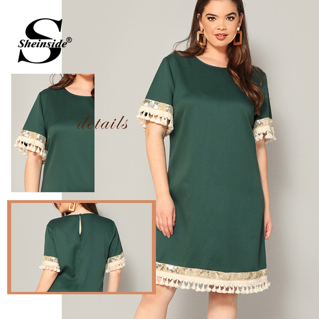 Sheinside Plus Size Elegant Sequin Detail Straight Dress Women 2019 Summer Fringe Sleeve Patchwork Dresses Ladies Midi Dress 5
