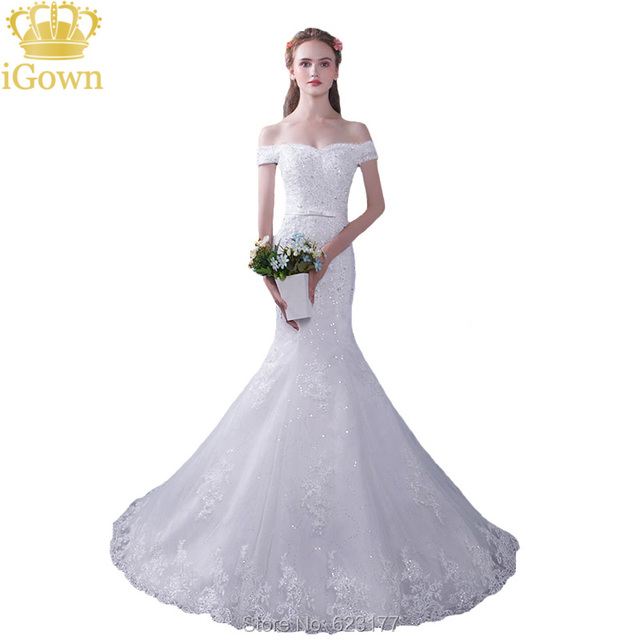 Igown Brand The Bride Mermaid Wedding Dress Y Slim White Lace Embroidery Sweep Train Long Fishtail