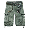 Men's Cargo Shorts Casual Summer Style Cotton Printed Shorts Male Large Size Loose Multi-Pocket Overalls 3 Color
