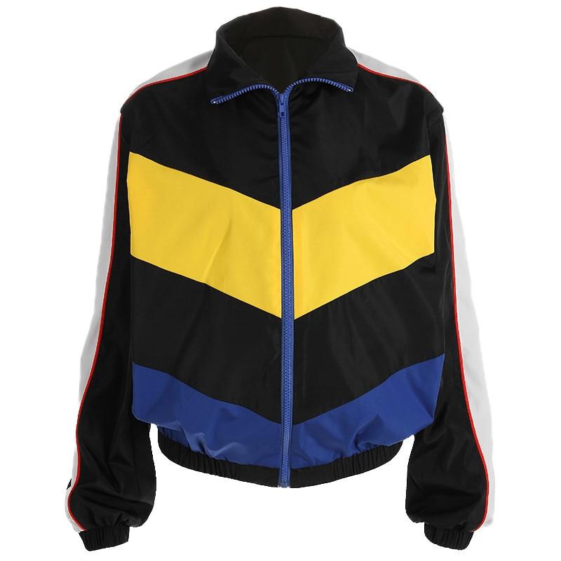 MANNAN Women Fashion Patchwork Looose Jacket Spring Autumn Turn-down Collar Streetwear Jackets  Womens Zipper Bomber Jacket