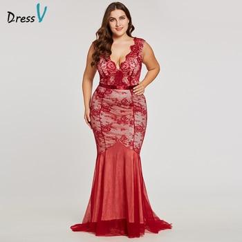 Dressv burgundy v neck plus size evening dress elegant cheap mermaid lace wedding party formal dress trumpet evening dresses