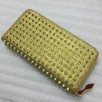 2018 top hot sale new arrival genuine leather unisex mini wallets rivets long purse female hand bag zipper large capacity Ladies