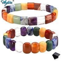 Ayliss 1pc New Tumble Gem Stone 7 Chakra Bracelet Reiki Balancing Healing Jewelry 10mm Beads Mens Stretch Natural Stone Bracelet