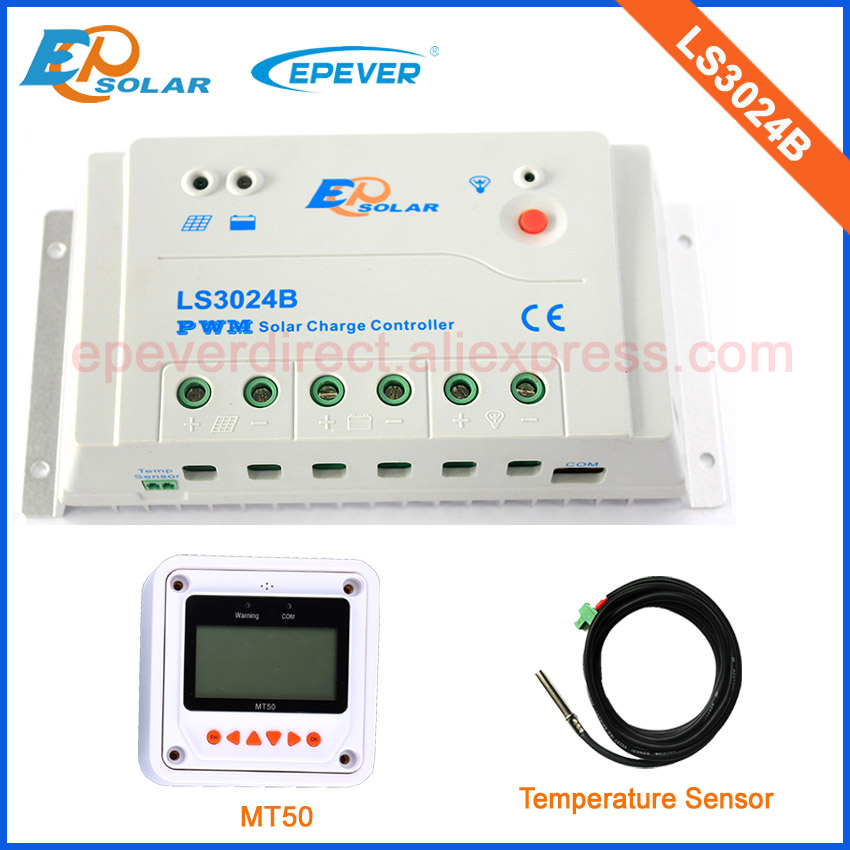 solar panel regulator with accessories white MT50 and temperature sensor LS3024B 30A 30amp 12v/24v 20a 12 24v solar regulator with remote meter for duo battery charging