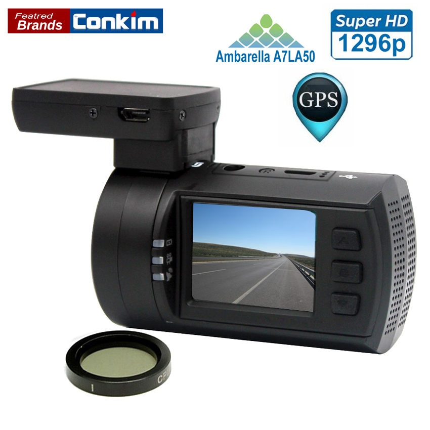 buy conkim dvr car camera dash cam mini 0806s ambarella a7 1296p 1080p gps. Black Bedroom Furniture Sets. Home Design Ideas