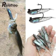 Relefree 1 Pcs Silicone 3D Sinking Soft Fish Fake Fishing Lure Bionic Bait Minnow crankbaits tackle pop food bowl feeder(China)