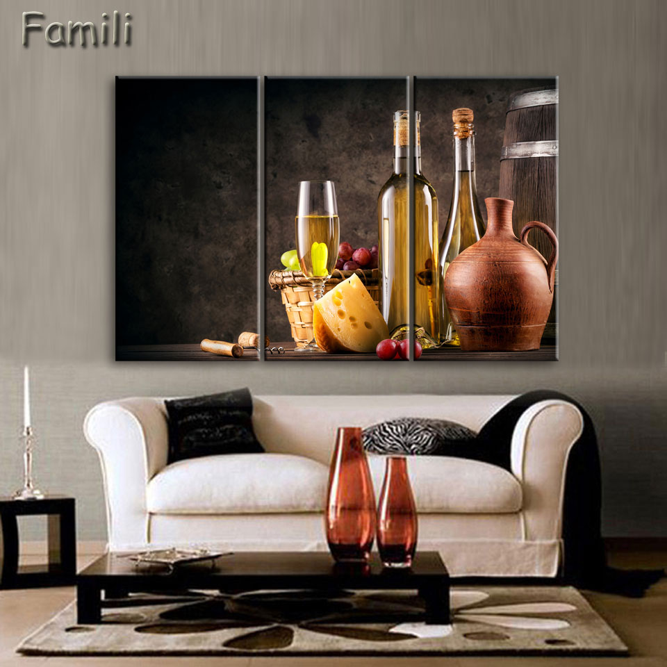 3picture White Wine And Cup Of Modern Canvas Print Painting Wall Art Picture For Kitchen Room Decoration Artwork Unframed