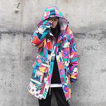 2017 Winter New Men's Hip Hop Style Flower Priting Cotton-padded Clothes Loose Windbreaker Parka  Casual Warm Jacket Coats M-xl