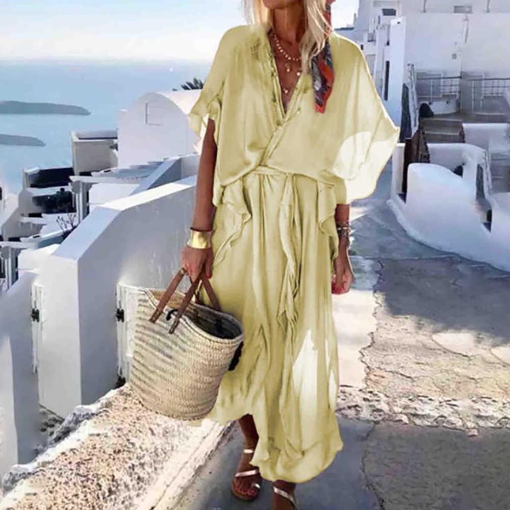 Nouveau été femmes mode col en v manches courtes volant ourlet lâche robes décontracté Slim Fit plage vacances Maxi longues robes