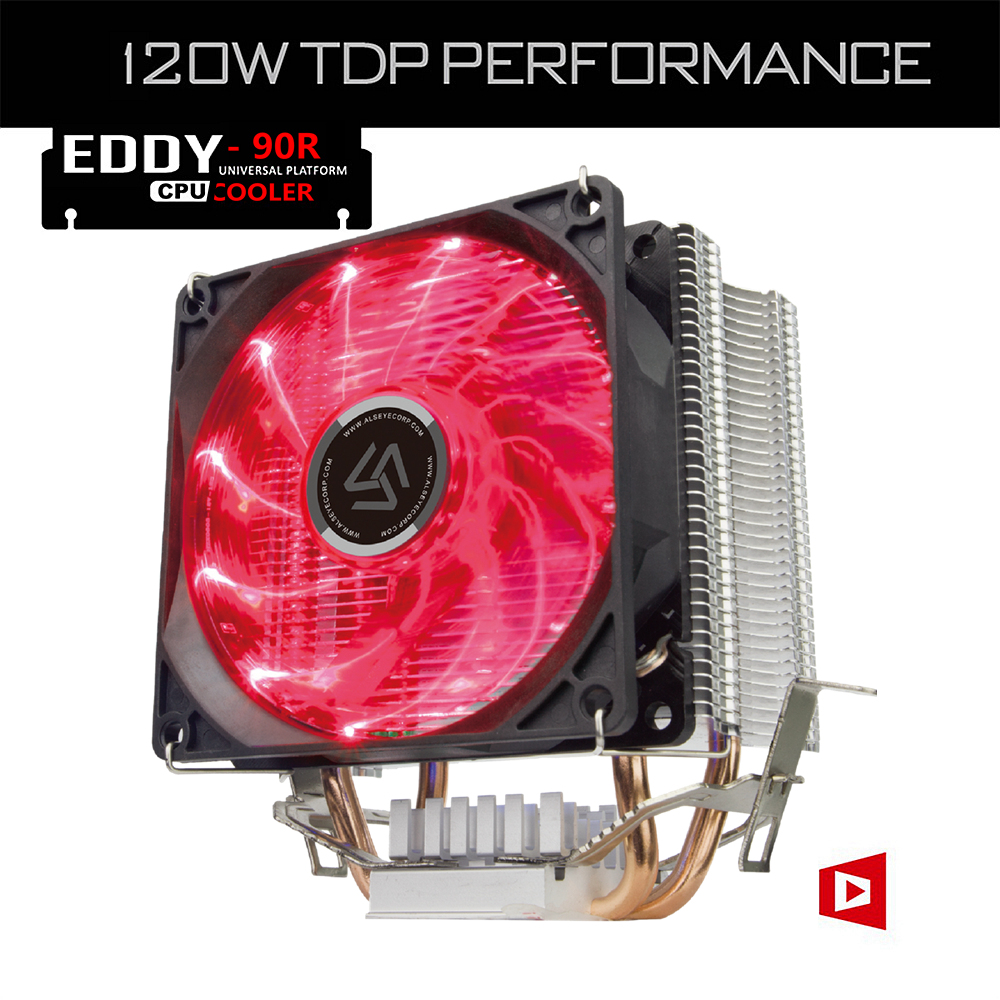 ALSEYE CPU Cooler 2 heat pipes Red LED CPU fan radiator for Intel LGA 775 / 1151/1156/1366 and AMD AM2 / AM3 / AM4 (EDDY-90R) pcooler s90f 10cm 4 pin pwm cooling fan 4 copper heat pipes led cpu cooler cooling fan heat sink for intel lga775 for amd am2