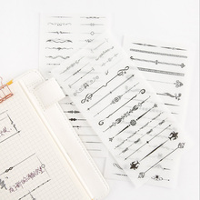 6 pcs/pack Black and white division line Stickers Set Decorative Stationery Stickers Scrapbooking DIY Diary Album Stick Label