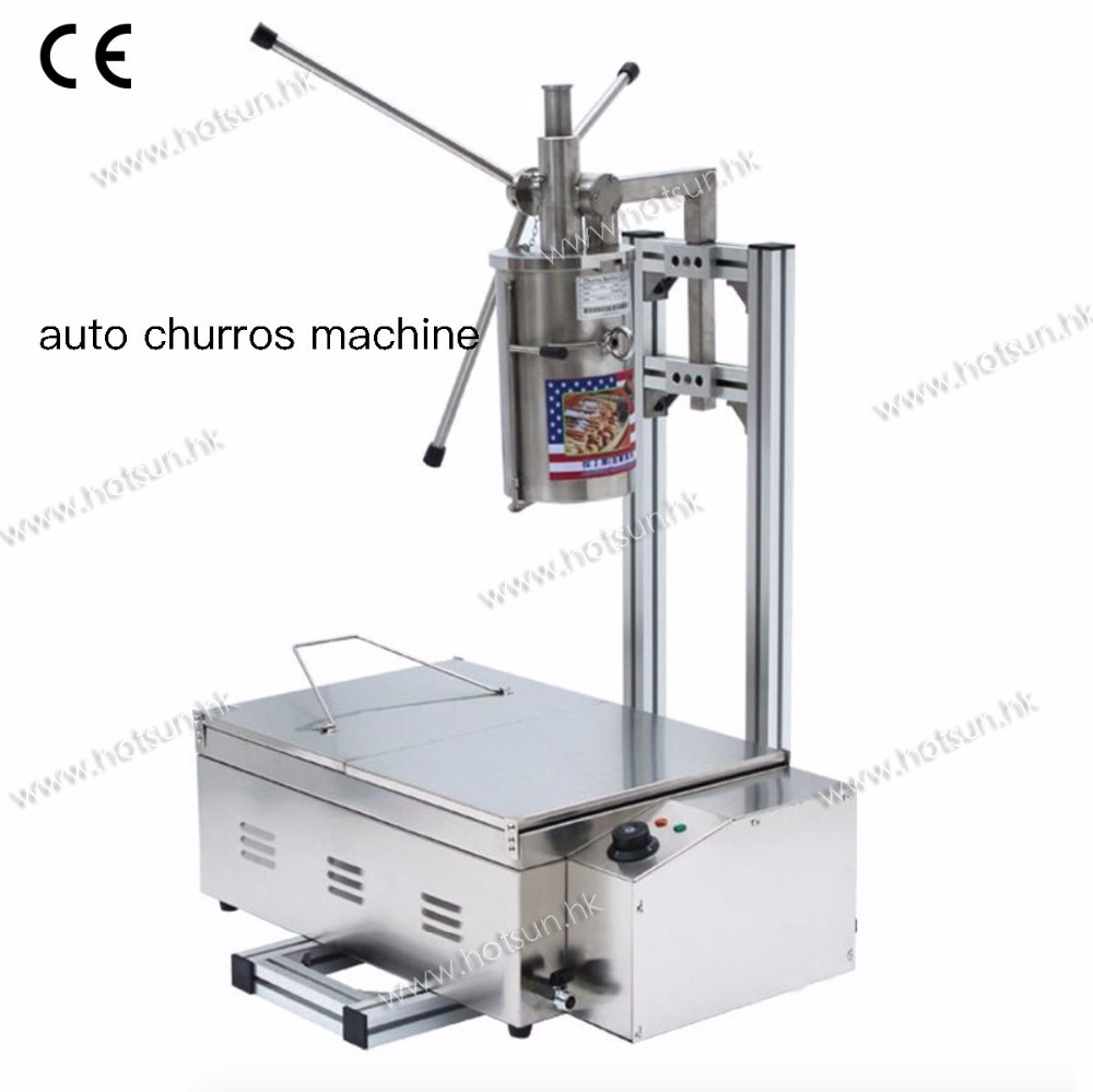 304 Stainless Steel 5L Auto Churros Maker Machine with Cutter + Working Stand + 25L 220v Electric Deep Fryer 5l stainless steel spanish churro maker fried dough sticks machine with 6l electric fryer commercial churros machine