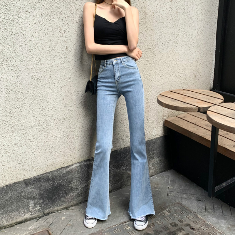 Wqjgr Spring And Summer 2019 Elastic High Waisted Jeans Women Flare Pants Full Length Mom Jeans Blue And Black Pants Women