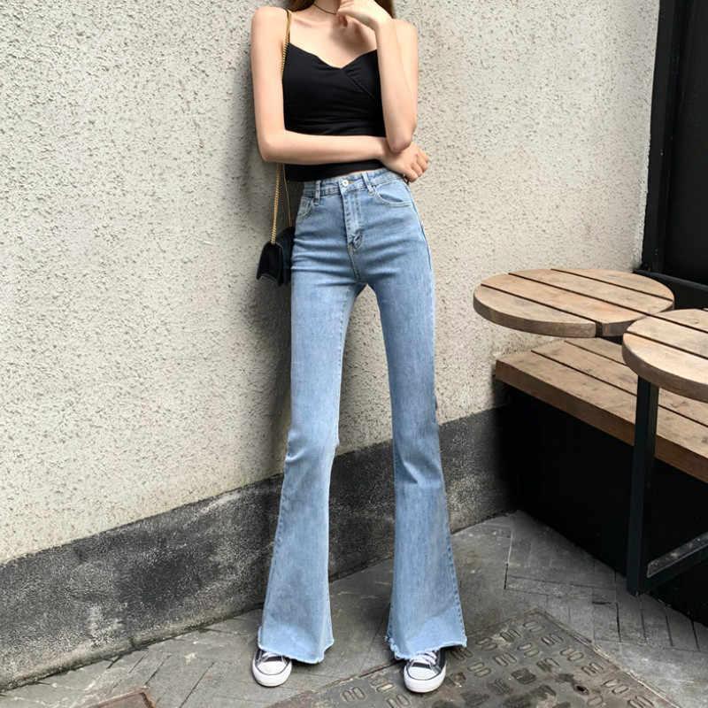 Wqjgr Vaqueros De Cintura Elastica Alta Para Mujer De Longitud Completa Pantalones Acampanados Color Azul Y Negro Primavera Y Verano 2021 Pantalones Vaqueros Aliexpress