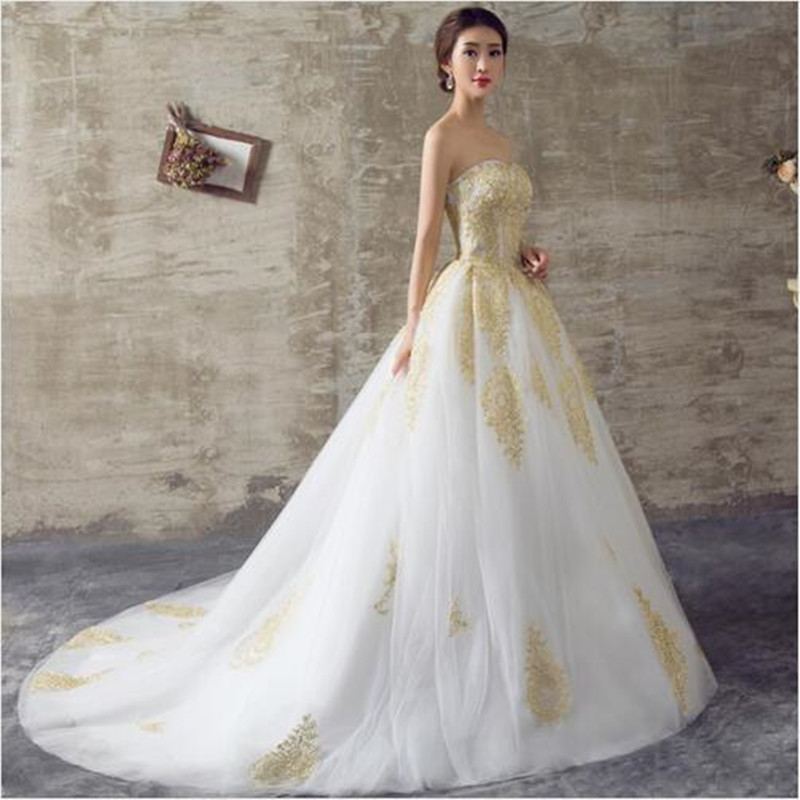 2017 White And Gold Wedding Dresses A Line Sweetheart Lace Up Back Royal Train Off The Shoulder Gowns In From Weddings Events On