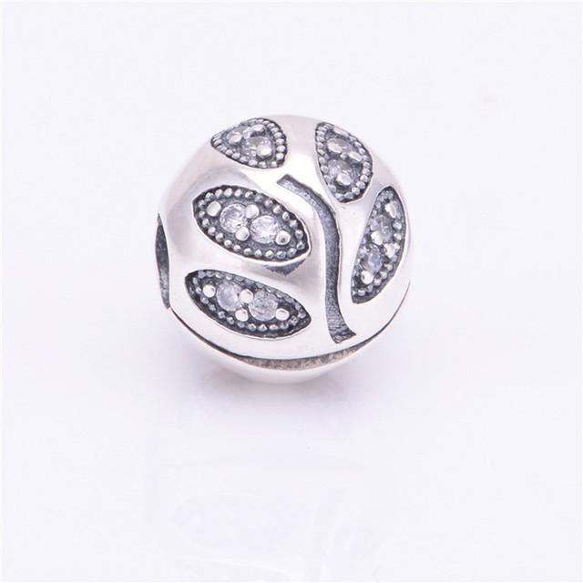Atacado Novo 100% 931 esterlina-prata-jóias segurança clipe belas Folhas de talão acessórios charme ajuste Pulseira diy livre grátis