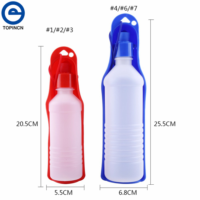 Dog Water Bottle Feeder With Bowl 250ml 500ml Plastic Portable Water Bottle Pets Outdoor Travel Pet Drinking Water Feeder Bowl