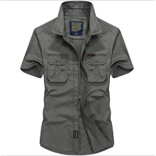 Mens Shirts Military Style Short Sleeve 100% Cotton Shirt,Chest Double Pocket,Loose Workers working Shirt