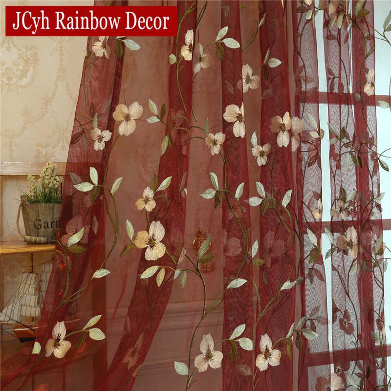 الزهور مطرز شير تول لغرفة المعيشة نافذة الستائر لغرفة النوم غرفة الفتيات الجاكار الرعوية الستائر cortinas