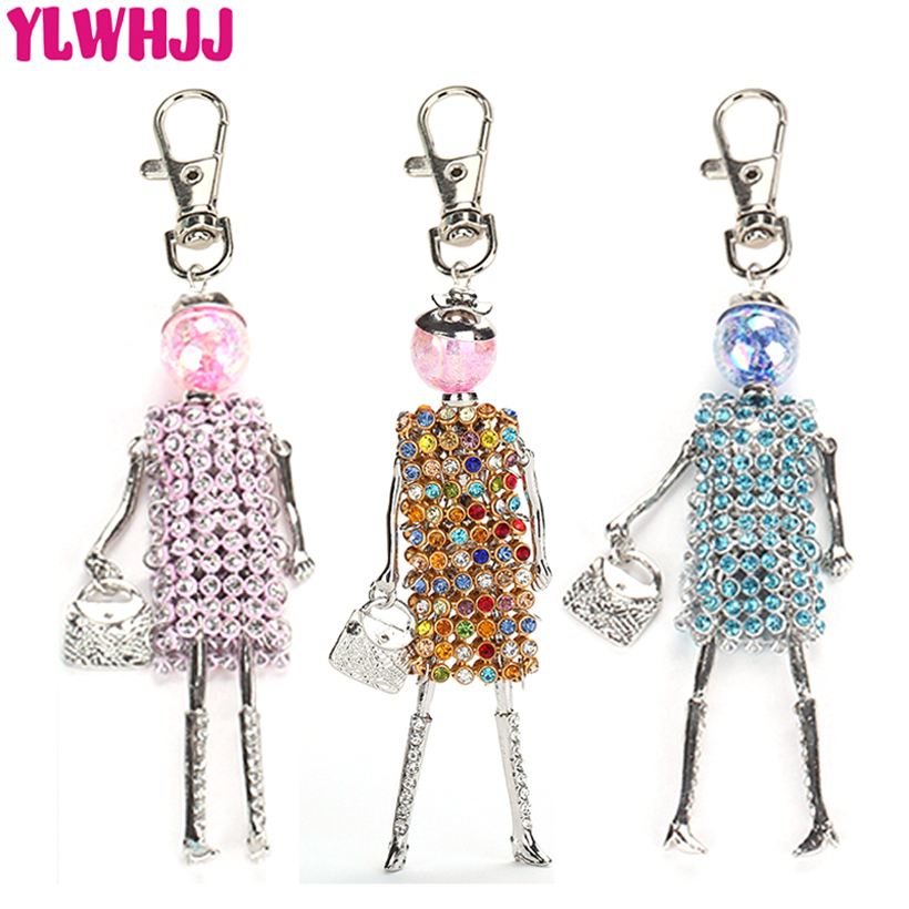 YLWHJJ new women cute Colorful rhinestones doll bag keychain girl car pendant baby crystal key chains trendy statement jewelry(China)