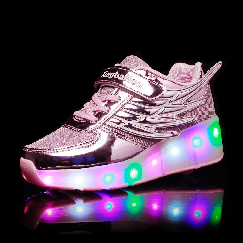 Image 4 - New Pink Gold Silver Child Fashion Girls Boys LED Light Roller Skate Shoes For Children Kids Sneakers With Wheels One wheelsSneakers   -