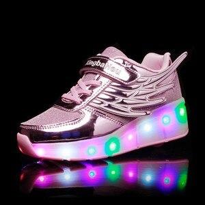 Image 4 - Zapatillas de patinaje con ruedas para niños y niñas, zapatos de moda para chicas y niños, con luces LED, color rosa, dorado y plateado