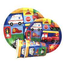 Omilut Construction Truck Party Disposable Tableware Set Birthday Plate/Cup/Banner Decor Supplies