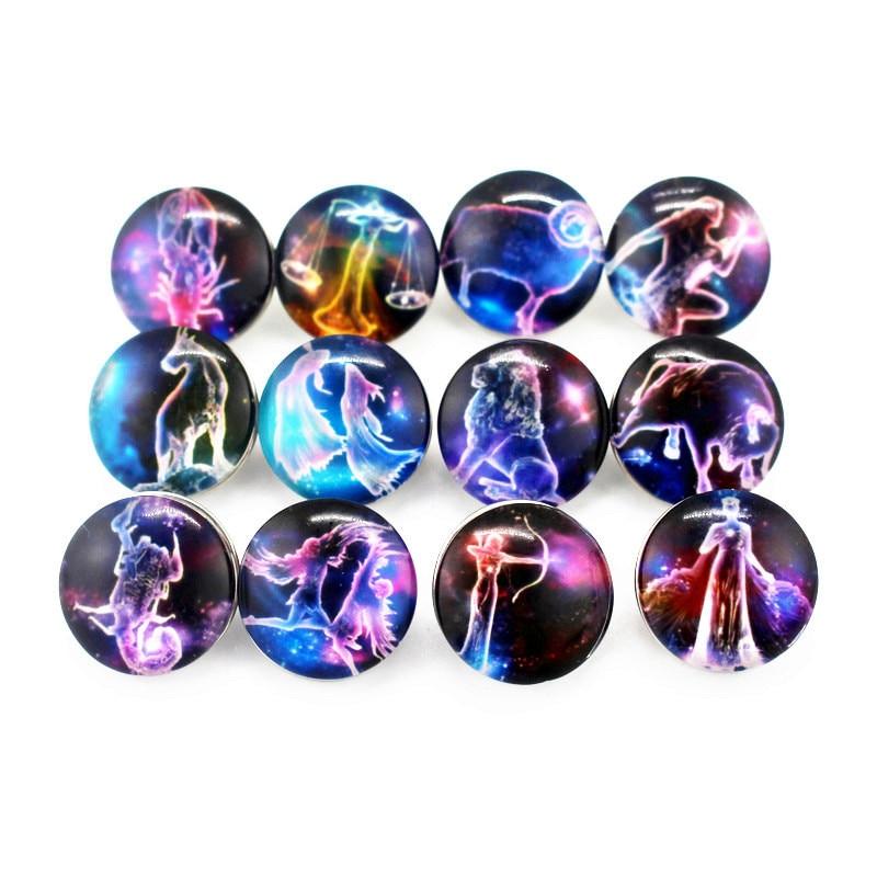 12 шт./лот Смешанные 12 созвездий кнопка оснастки 18 мм стеклянные кнопки Подвески подходят DIY Сменные оснастки браслет ювелирные изделия