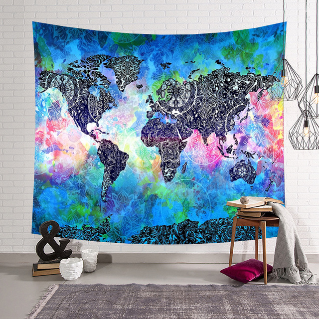 Zeegle World Map Pattern Wall Hanging Tapestry Table Cloth Home ...