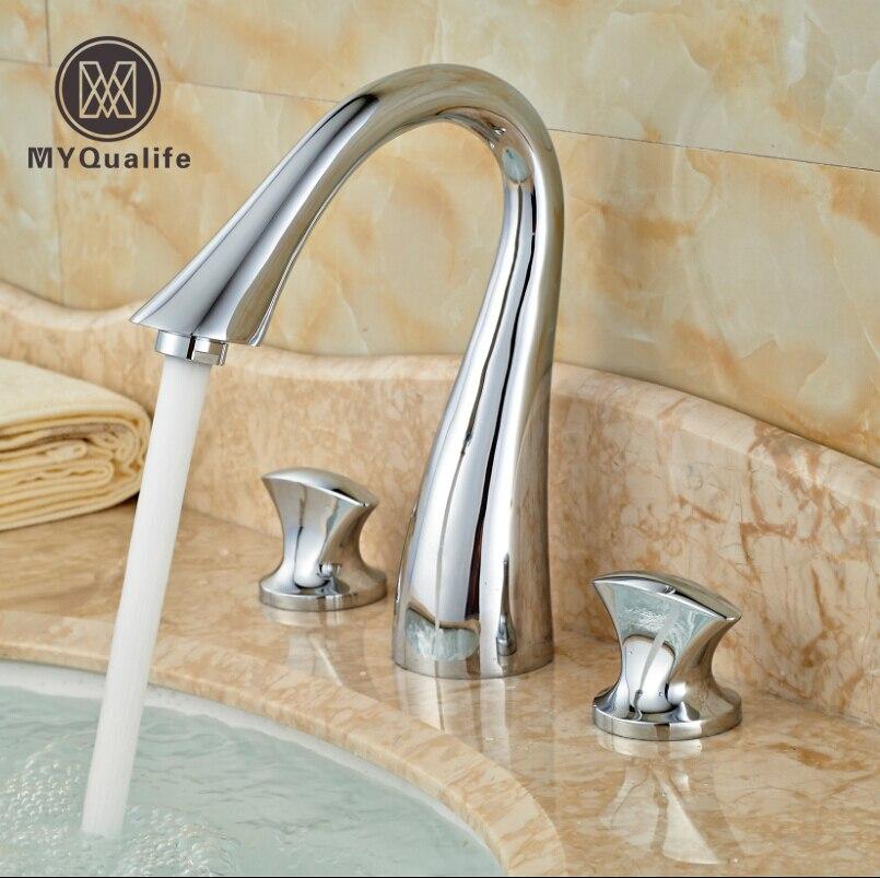 Здесь продается  Brand New Waterfall Bathroom Widespread Sink Faucet 3 Holes Dual Handle Basin Mixer Taps Chrome Finish  Строительство и Недвижимость