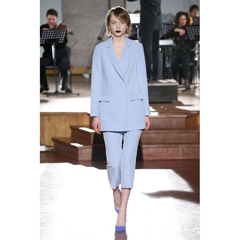 Pant Suits Sky Blue Women Business Suits Formal Work Slim Office Uniform Styles 2 Piece Jacekt+pant Custom Made Pants Suit 116
