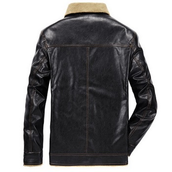 FALIZA Mens Leather Jackets Winter Mens Faux Leather Coat PU Pilot Fur Coat Men Motorcycle Leather Jackets with Pockets JK143