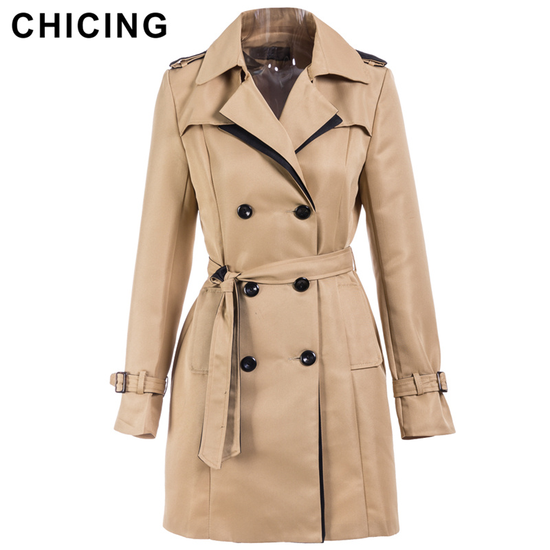 CHICING Autumn Winter Fashion Women   Trench   2018 Solid New Arrival Double Breasted Long Sleeve Regular Coats Ladies 1807070