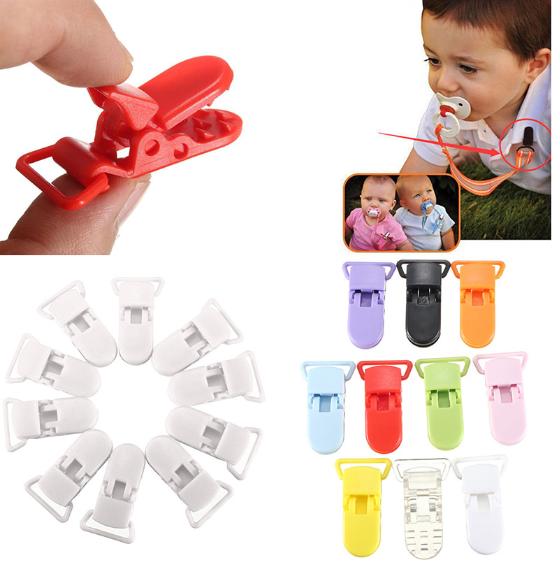 10pcs Mix Colors Plastic Pacifier Clips Holder Baby Dummy Clip Crocodile Mouth Design Toddler Feeding Accessories Tools LMY220