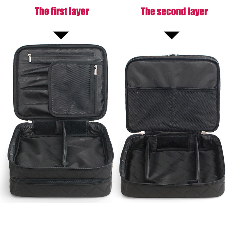 Cosmetic Bag Ms large Capacity Double layer Makeup Bags Organizer Travel Beautician Multifunctional large Capacity Cosmetic Case