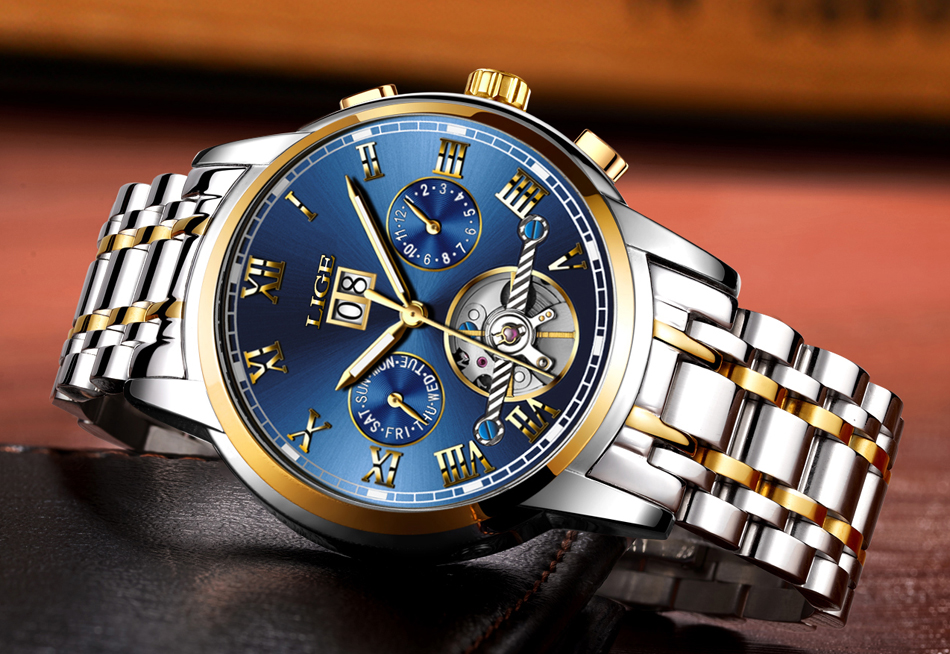 HTB1lAd4VH2pK1RjSZFsq6yNlXXaz Mens Watches Top Brand LIGE Fashion Luxury Business Automatic Mechanical Men Military Steel Waterproof Clock Relogio Masculino