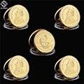 5PCS 1967 Krügerrand Fyngoud 1 UNZEN Feine Gold Replik Südafrika Replik Münze Paul Kruger Gedenk Metall Münze