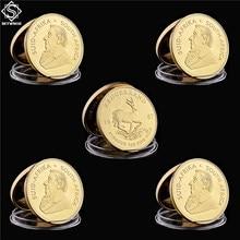 Krugerrand Fyngoud, réplica de oro fino de Sudáfrica, moneda de réplica, moneda de Metal conmemorativa de Paul Kruger, 1967, 5 uds.