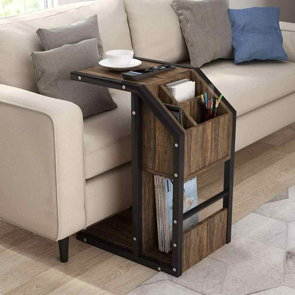 Sofa Side Table Tribesigns Modern C Snack End Table with Storage ...