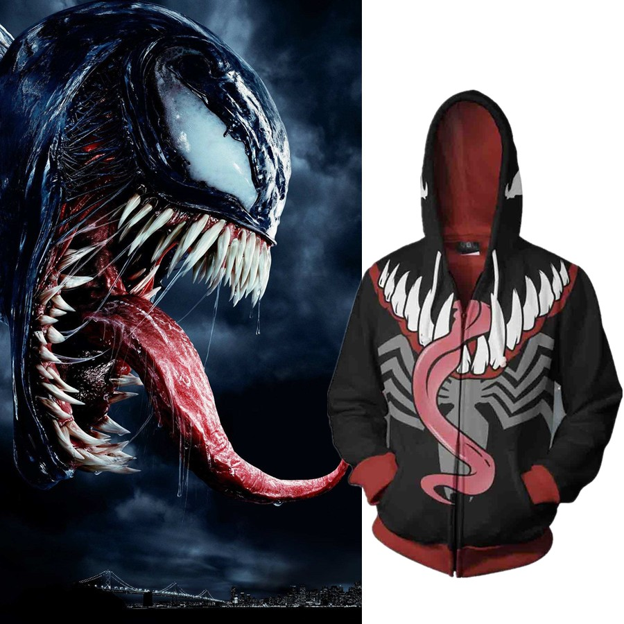 Venom Spider man Cosplay Spiderman Costume Movie Hoodie Sweatshirts Men Women Jackets 2019 New