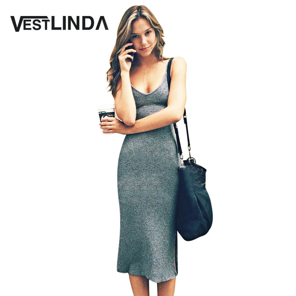VESTLINDA Knitted Dress Side Split Midi Bodycon Dress Women Summer Brandy Melville Spaghetti Strap Sexy Deep V Neck Beach Dress 1