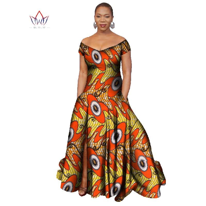 2017 Long Dress Africa Bazin Riche Wax Print Dresses Plus Size Vetement Africain Pour Femme ...